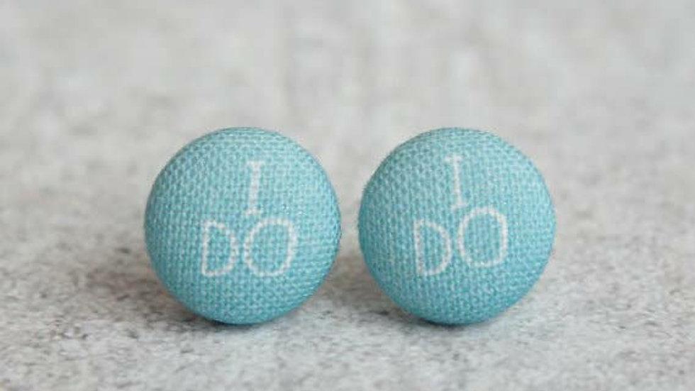 """""""I Do"""" Fabric Button Earrings"""