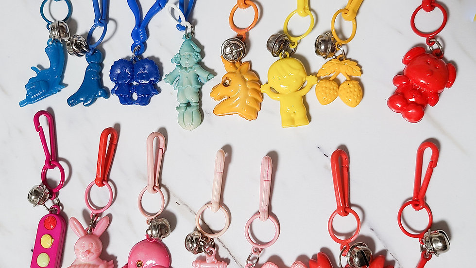 Vintage 1980's Bell Charms Rainbow Set of 15