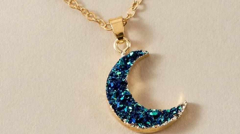 Gold & Blue Faux Druzy Crescent Moon Necklace