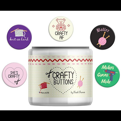 "$2 Each ""Crafty"" Themed Button- 5 styles to choose from"
