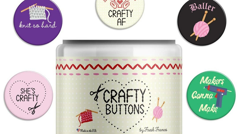 """$2 Each """"Crafty"""" Themed Button- 5 styles to choose from"""