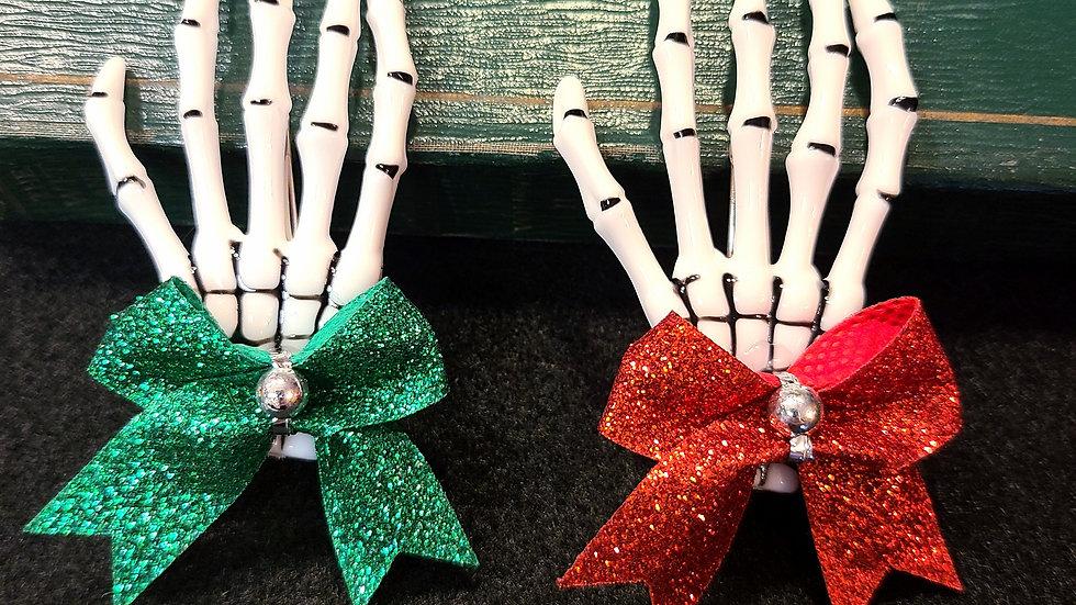 Christmas Spirit White Skeleton Hand Hair Clips Set