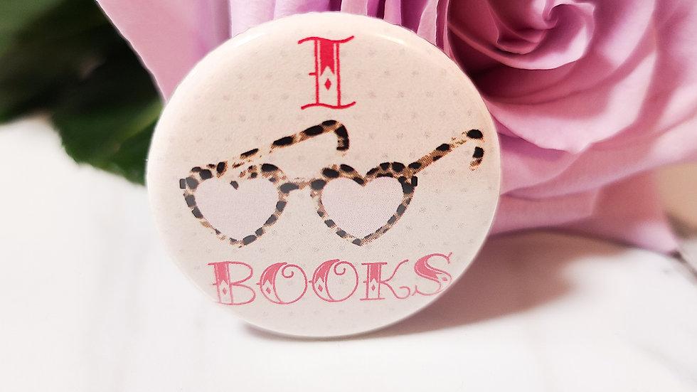 """""""I ❤ Books"""" Small Button"""