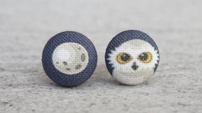 Moon & Owl Fabric Button Earrings