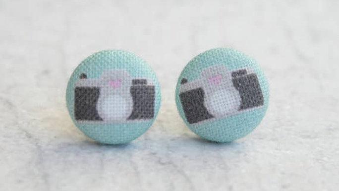 Camera Fabric Button Earrings