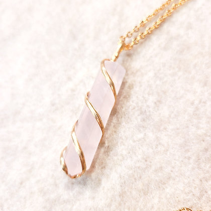 Pale Rose Quartz Point Hand Wired Necklace Gold Tone