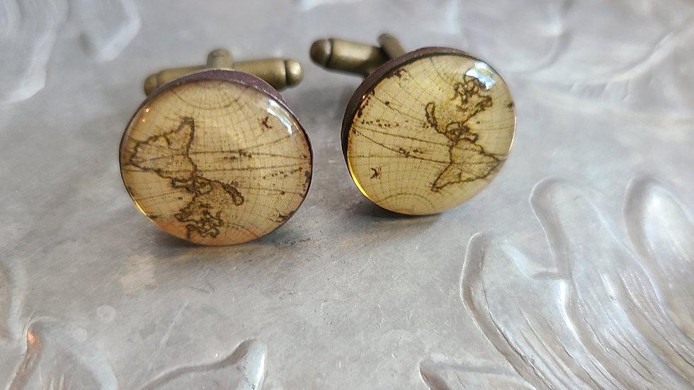 Sepia Toned Map Men's Cuff Link Set