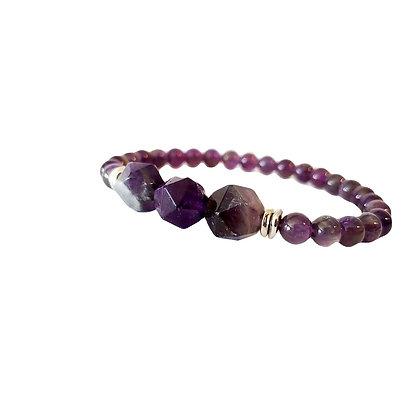 Genuine Amethyst Dark Purple Stretch Bracelet