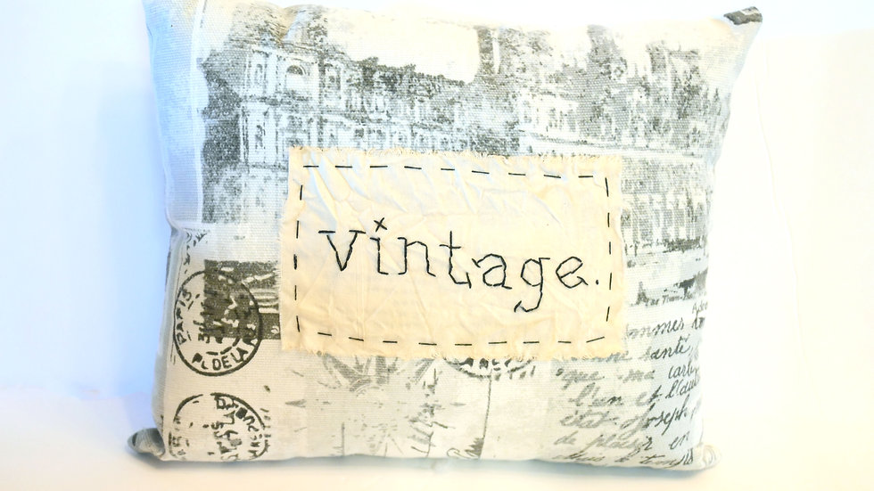 """Vintage Word Hand-stitched 7""""x11"""" Tiny Throw Pillow"""