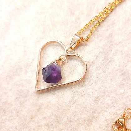 Genuine Amethyst Heart Pendant Necklace