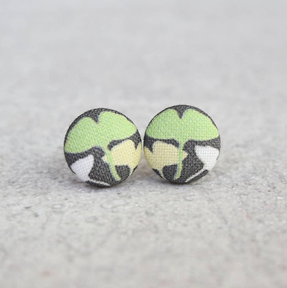 Leaves Fabric Button Earrings