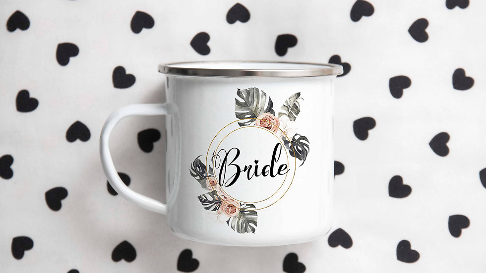 """Bride"" Floral Camping Mug 12 oz"