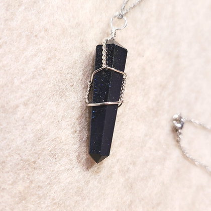 Blue Goldstone Point Hand Wired Necklace Silver Tone