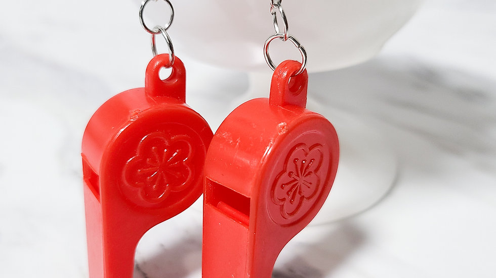 Vintage 1980's Whistle Charm/ Kitsch Toy Earrings