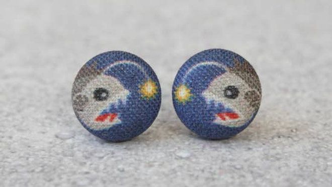 Angler Fish Fabric Button Earrings