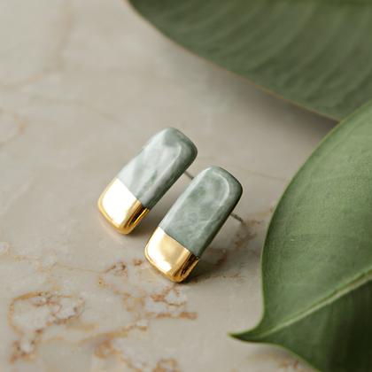 Green marble earrings