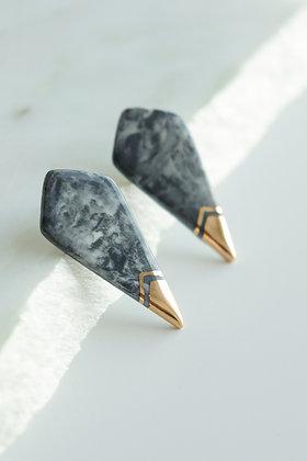 Edgy grey marble earrings