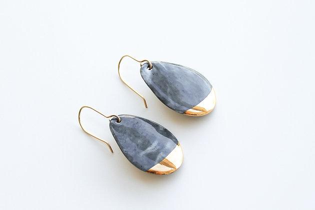 Gray porcelain earrings