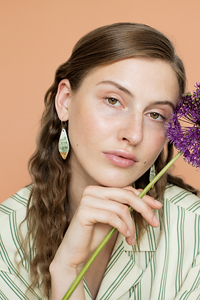 Green marble porcelain earrings
