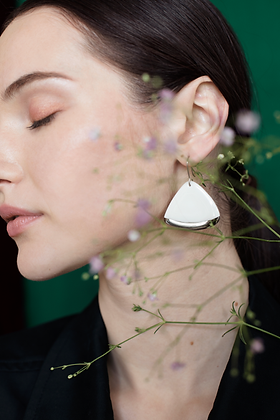 Silver white porcelain earrings