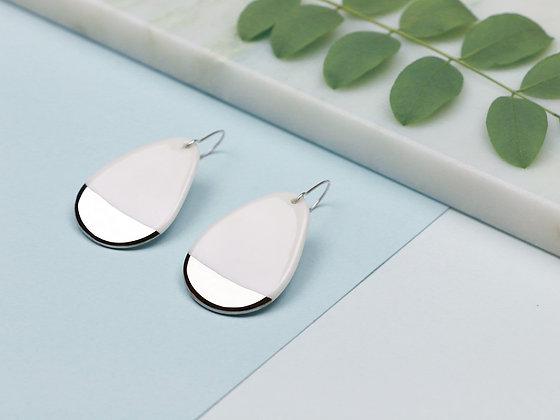 Silver white porcelain earrings