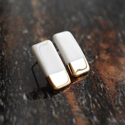 Geometric porcelain earrings