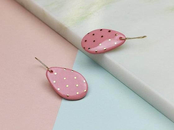 Pink polka dot earrings