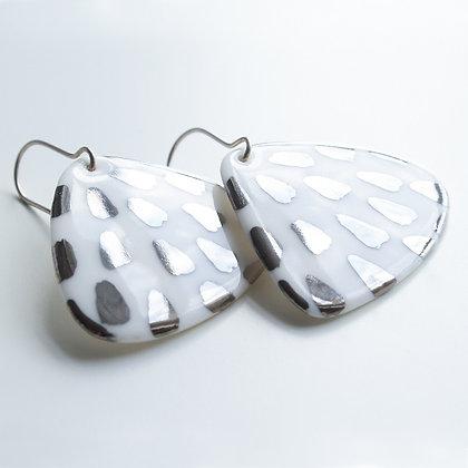 Silver porcelain earrings