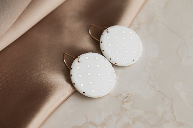 Round polka dot earrings
