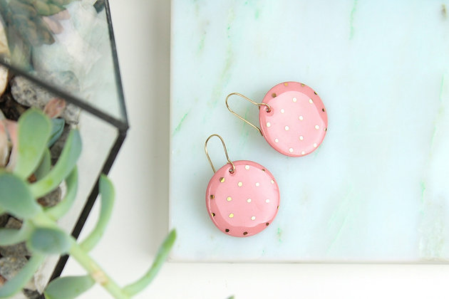 Pink polka dot porcelain earrings