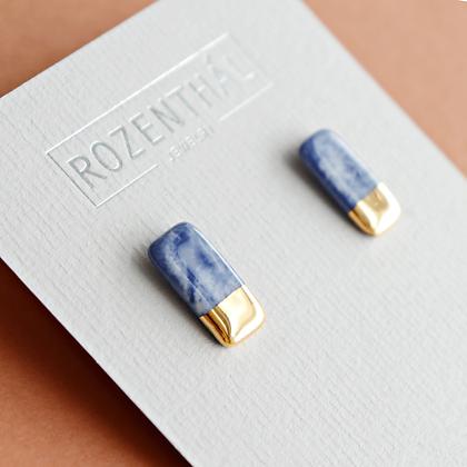 Blue marble stud earrings