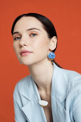 Blue round porcelain earrings