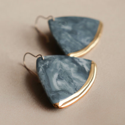 Gray porcelain earrings