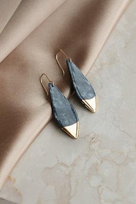 Gray marble porcelain earrings