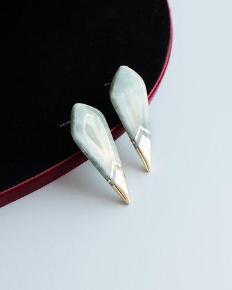 Edgy green marble earrings