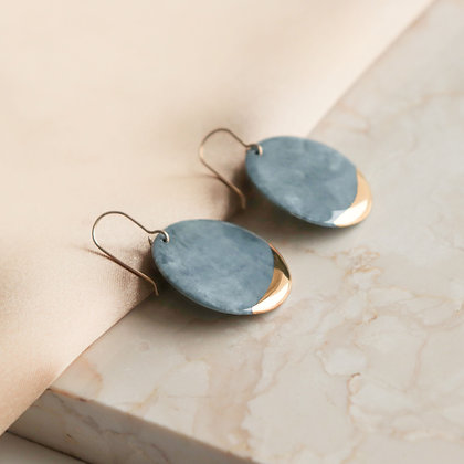 Gray marble porcelain earrings