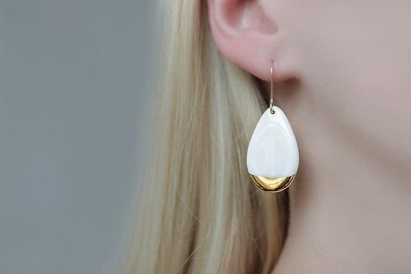 White porcelain earrings