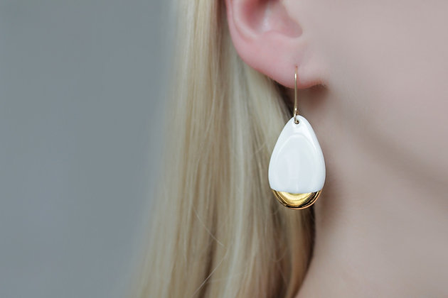 White porcelain earrings
