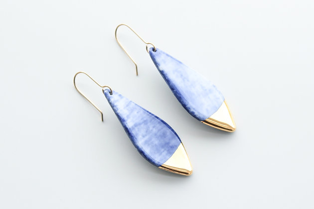 Blue porcelain earrings