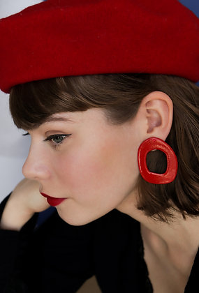 Abstract red earrings