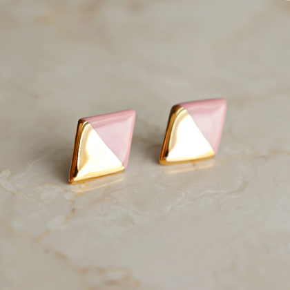 Pink stud earrings