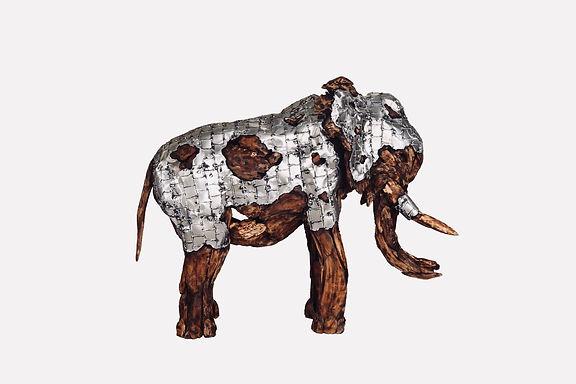 Elephant aus Teakholz mit Aluminium