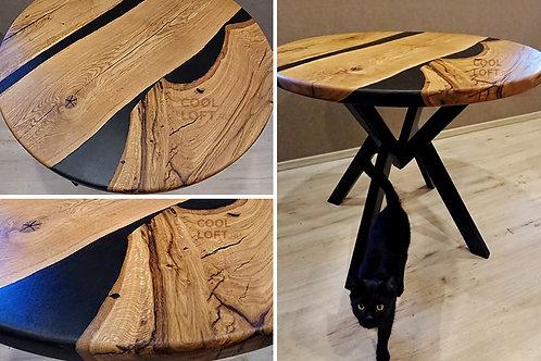 Стол круглый деревянный с металлическим основанием