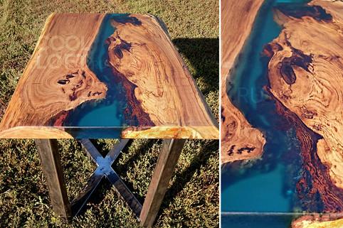 Стол река с прозрачной бирюзовой эпоксидной смолой