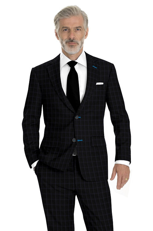 Charcoal and Blue Nailhead Windowpane Suit