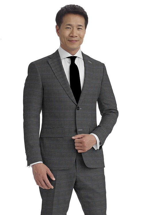 Light Gray and Light Blue Glen Plaid Suit