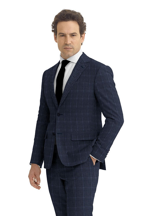 Blue and Navy Windowpane Suit