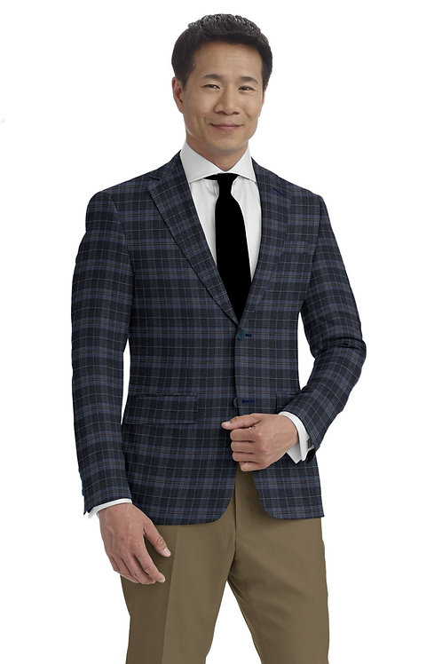 Light Blue and Brown Plaid Sport Coat