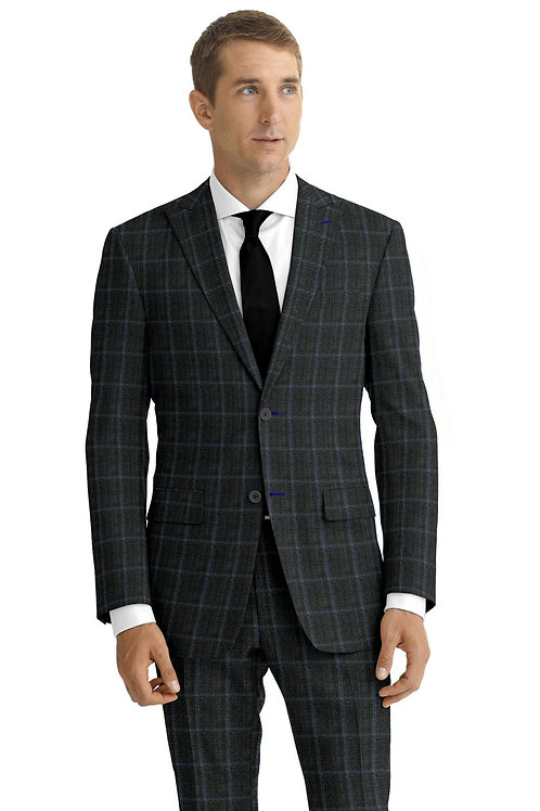 Grey and Blue Windowpane Suit