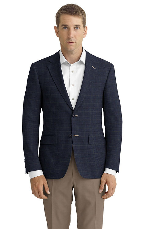 Blue and Brown Plaid Sport Coat